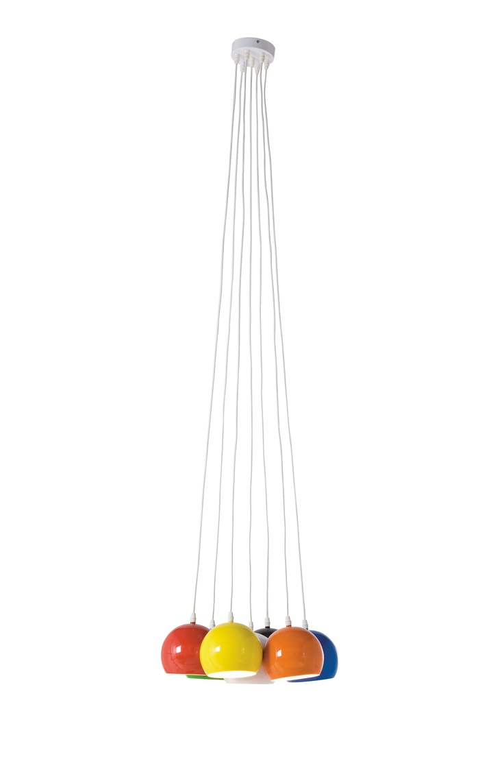 kare design lampe carlotta colore im 50er jahre stil mit sieben langen wei en kabeln an denen. Black Bedroom Furniture Sets. Home Design Ideas