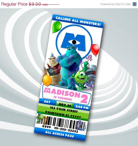 ON SALE 40 Monsters Inc  Ticket Invitation  by ticketparty on Etsy
