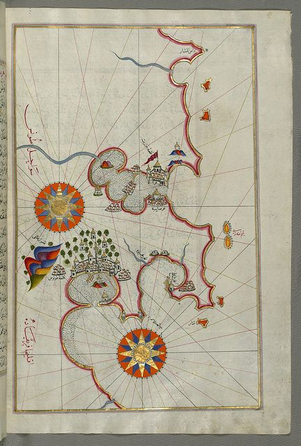 Illuminated Manuscript, Map of the coast of Tunisia with the ports of Bizerte (Binzert) and Tunis (Ṭūnūs) from Book on Navigation, Walters Art Museum Ms. W.658, fol.277b