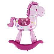 """Balão Metalizado  Cavalo Rosa é uma menina pink Horse - Balão metalizado cavalinho rosa é uma menina para decoração maternidade HSG Balão duplo 40"""" Tamanho aproximado 150  cm Inflar com ar ou flutua quando inflado com Gás Hélio, não sendo necessário selar o balão, basta  passar o dedo sobre a válvula para o ar não sair Pode ser inflado com uma bomba manual, inflador elétrico ou no cilindro de Gás Hélio Balloon-time. Uso: Complemento da decoração com balões, com Gás Hélio para flutuar…"""
