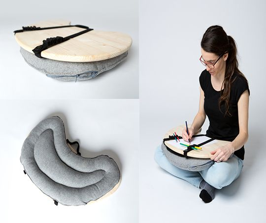 """Wool gives a pleasant feel. Wood keeps the items stable. Very useful nowadays """"Bean Table"""" by Zuzana Slezáková"""