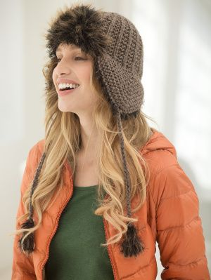 Feel on trend this this knit Bristal Bay Hat made with Heartland and Pelt.