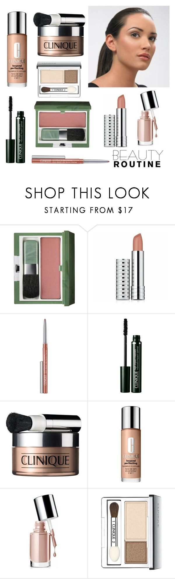 """""""Nude Make up with Clinique"""" by dezaval ❤ liked on Polyvore featuring beauty, Clinique and beautyroutine"""