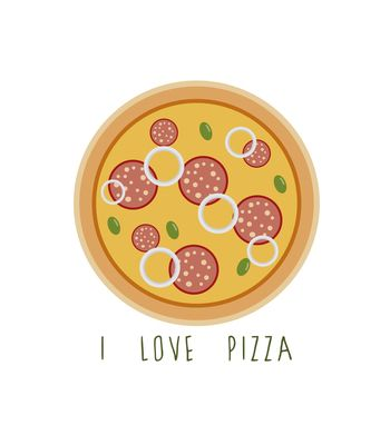 Arte I LOVE PIZZA de Juliana Motzko!! Disponível em camiseta, poster, almofada, caneca e case de celular. Só na Touts!