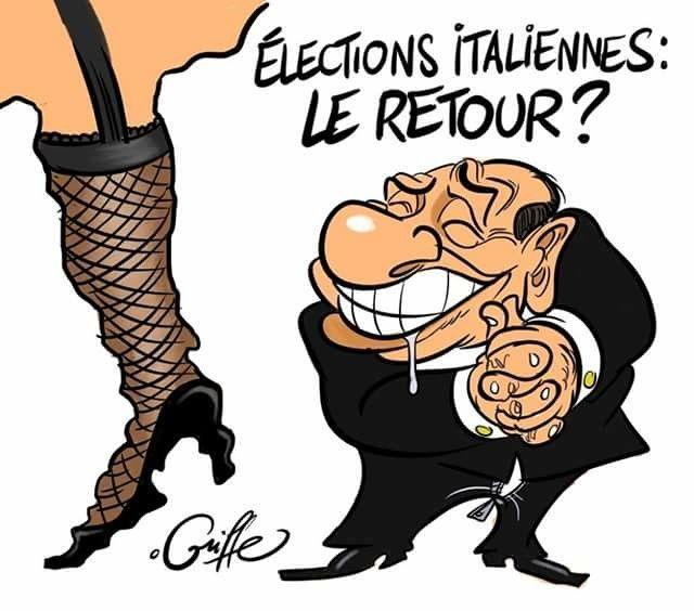Lesco Griffe (2018-03-04) Italie: élections: Berlusconi   ÷÷÷ Pour qui vos Tétons ?   Dessin de Lesco Griffe - https://www.facebook.com/lescogriffe1/