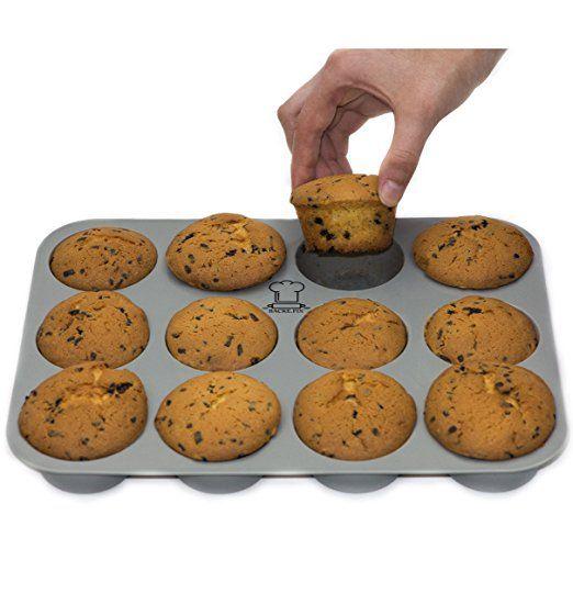 BackeFix - Silikon Muffinblech   Backblech - Küche - Zum Muffins backen. einfach zufrieden sein ★ ohne Fett und Papier backen ★ beliebteste Silikon Muffinform ★ Premium Antihaft-Beschichtung   Muffin Backform, ideal für Cupcakes sowie Muffins   2 Jahre Garantie   Silikon Muffinform (12er) Kochen