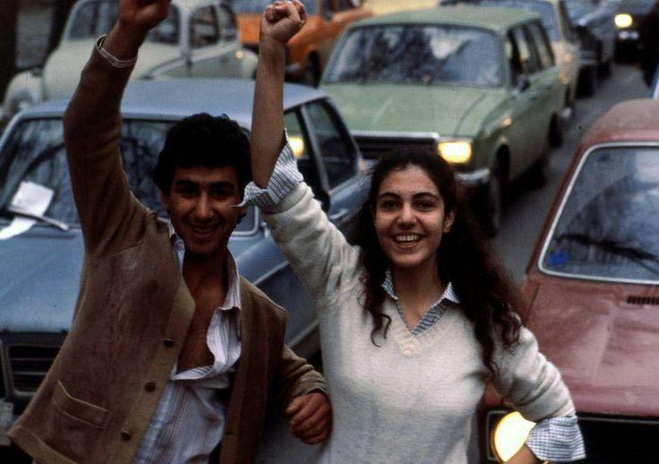 Iran, 1979, young people cheering the fall of the Shah. Did they have any idea of what was coming, for everyone, but especially for women?