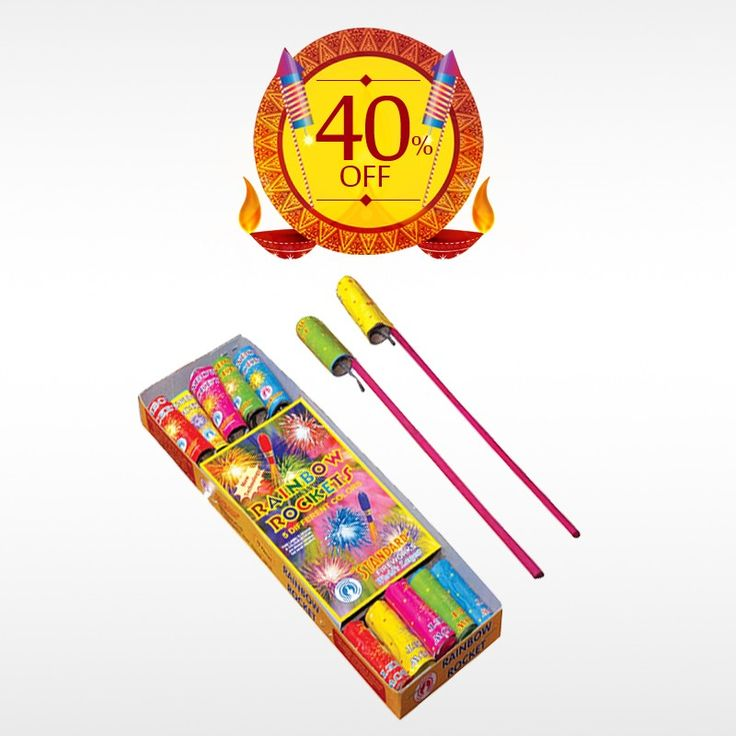 Celebrate this #Diwali , the festival of lights with great enthusiasm and zeal with COLOUR RAINBOW ROCKETS. Get 40% off on all #crackers .  #BringHomeFestival