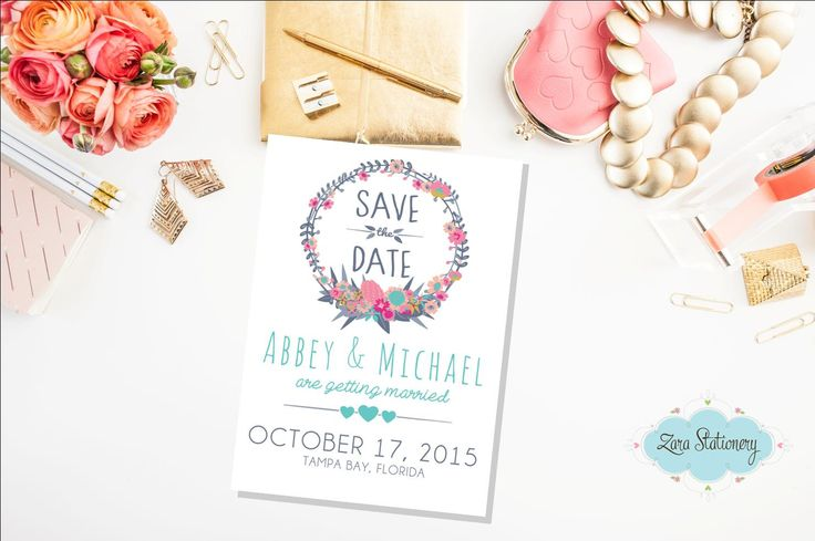 Save the Date. Floral Wreath Card. Wedding Save the date. Rustic wedding. Modern wedding (15.00 AUD) by ZaraStationery
