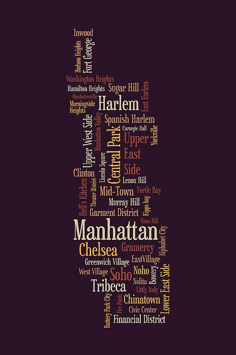 Picture of a state made out of city names.