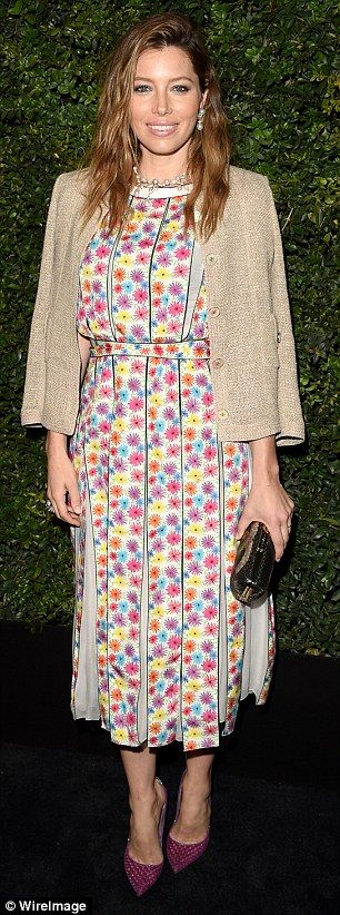 Jessica Biel in Chanel Spring 2016 at theCharles Finch and Chanel Pre-Oscar Awards Dinner on February 27, 2016