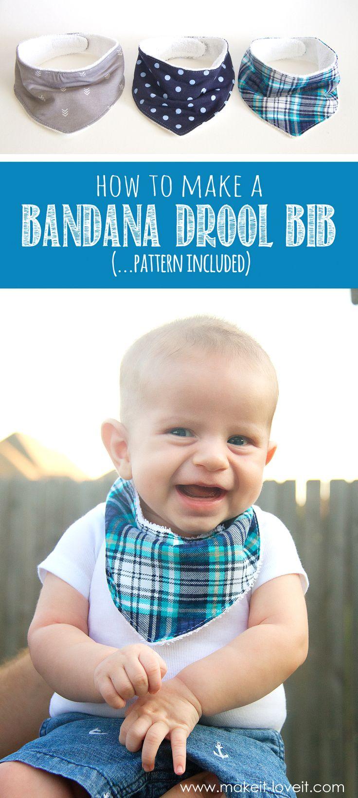 DIY Bandana Drool Bib (...pattern included) | via www.makeit-loveit.com