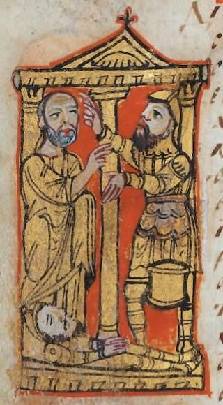 f.144v, Elisha announcing the end of the famine, 'Sacra Parallela', Byzantine, 9th century, BnF Grec 923