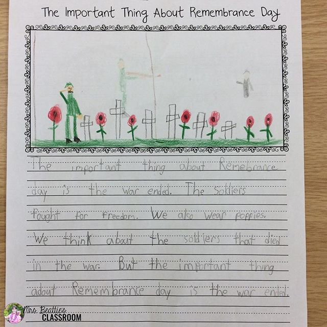 We used The Important Book as a mentor text to write about Remembrance Day. My students were so engaged! :purple_heart: #theimportantbook #mentortexts #remembranceday #MrsBeattiesClassroom