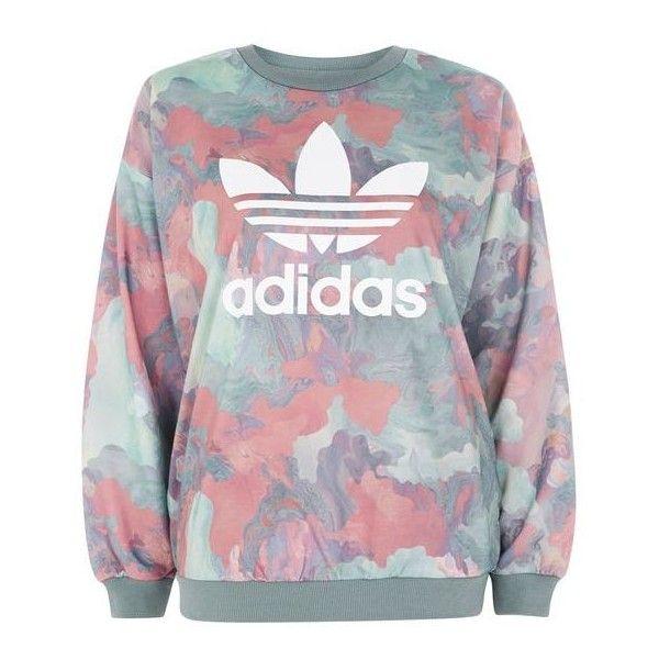 Pastel Crew Neck Sweatshirt by Adidas Originals (210 BRL) ❤ liked on Polyvore featuring tops, hoodies, sweatshirts, blusas, shirts, sweaters, adidas, camo sweatshirts, camouflage crewneck sweatshirt and crew-neck sweatshirts