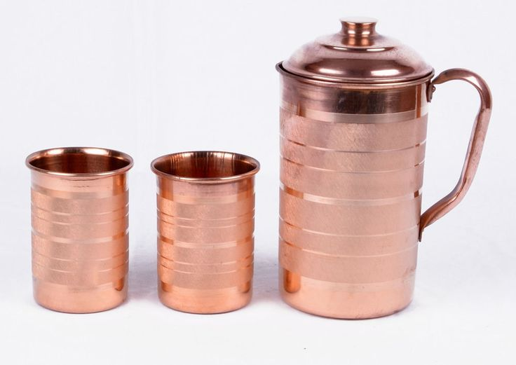 INDIAN 1 COPPER WATER JUG WITH 2 GLASSES SET PURE ENERGIZED WATER NATURAL HEALTH