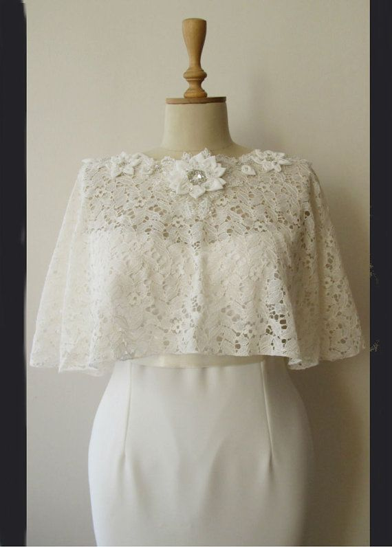 Ivory Lace Bridal Cape Shawl Shrug Spring Summer by gebridal