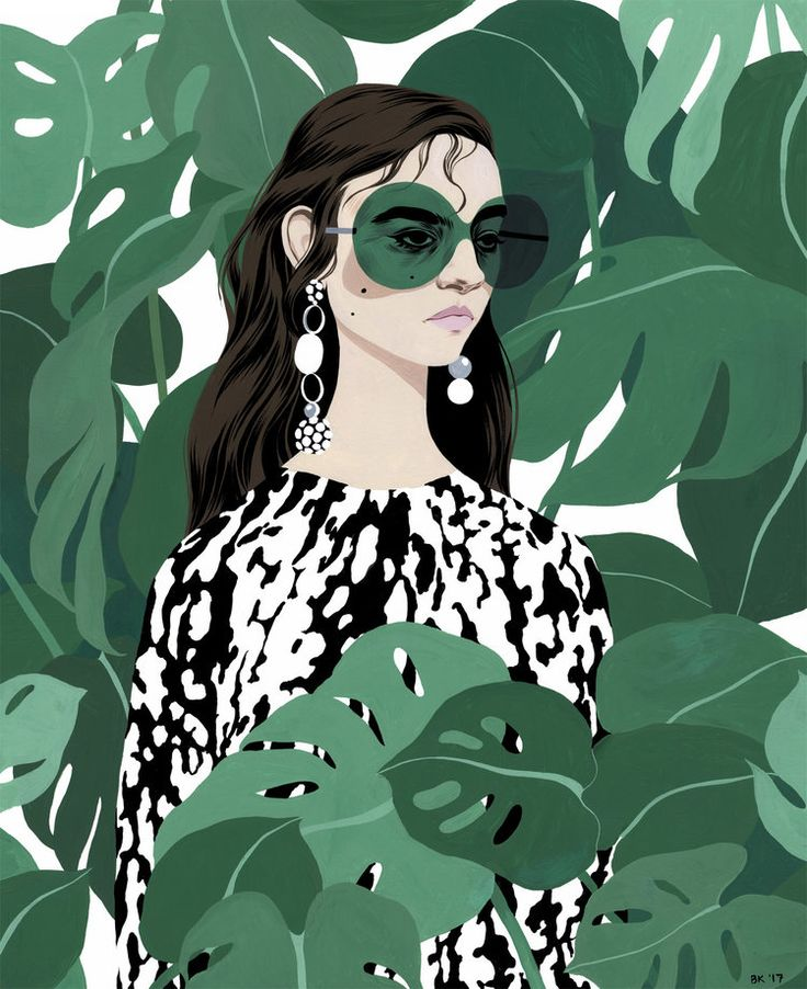 Bijou Karman (Los Angeles) Eduardo Week 10 Gouache. The different tones of green used in this illustration are what makes it stand out to me. They pop out against the white and black, and yet tie in seamlessly with the b&w pattern of the dress. The line work of the hair and eyes is my favourite part. I like that she hasn't outlines the leaves, yet they stand out.