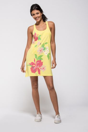 Fresh yellow floral jersey dress.