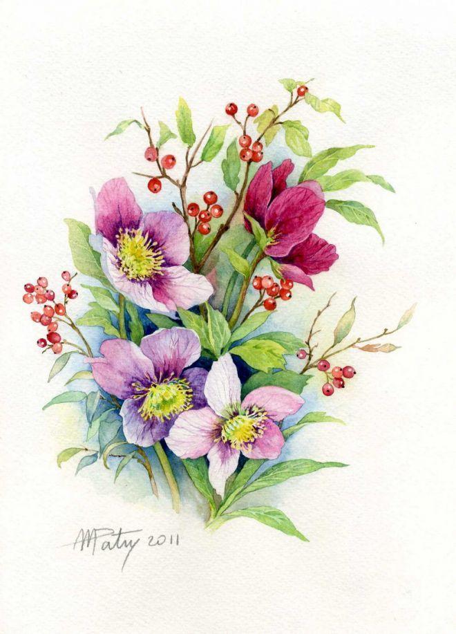 Хамелеона, картинка с цветами рисунок