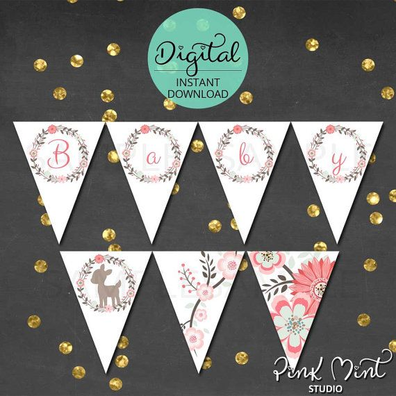 Woodland Banner Baby Shower Woodland Pennant by PinkMintStudio