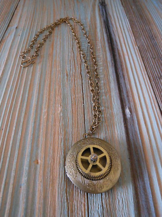 Locket Memory Necklace with Unique Steampunk Flair Old Pocket