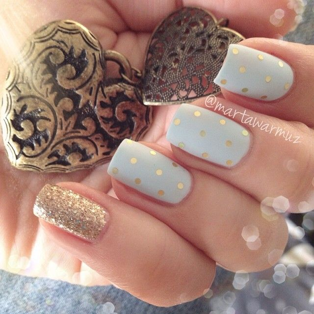 Nails. Fashion. Nail Art. Nailsart. Nailpolish. Polka dots. Gold, white, glitter. Happy new year. Luxury!! Instagram photo by @martawarmuz