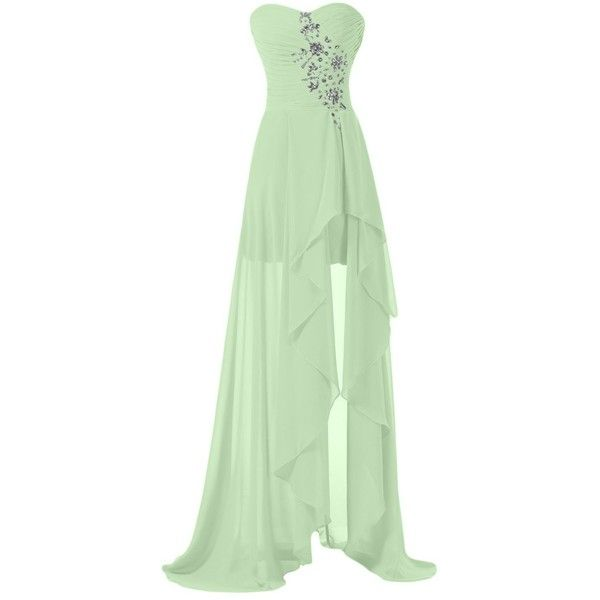Sunvary High Low Strapless Chiffon Bridesmaid Evening Dresses Prom... (£47) ❤ liked on Polyvore featuring dresses, gowns, long green dress, green gown, green bridesmaid dresses, long evening dresses and long chiffon dress