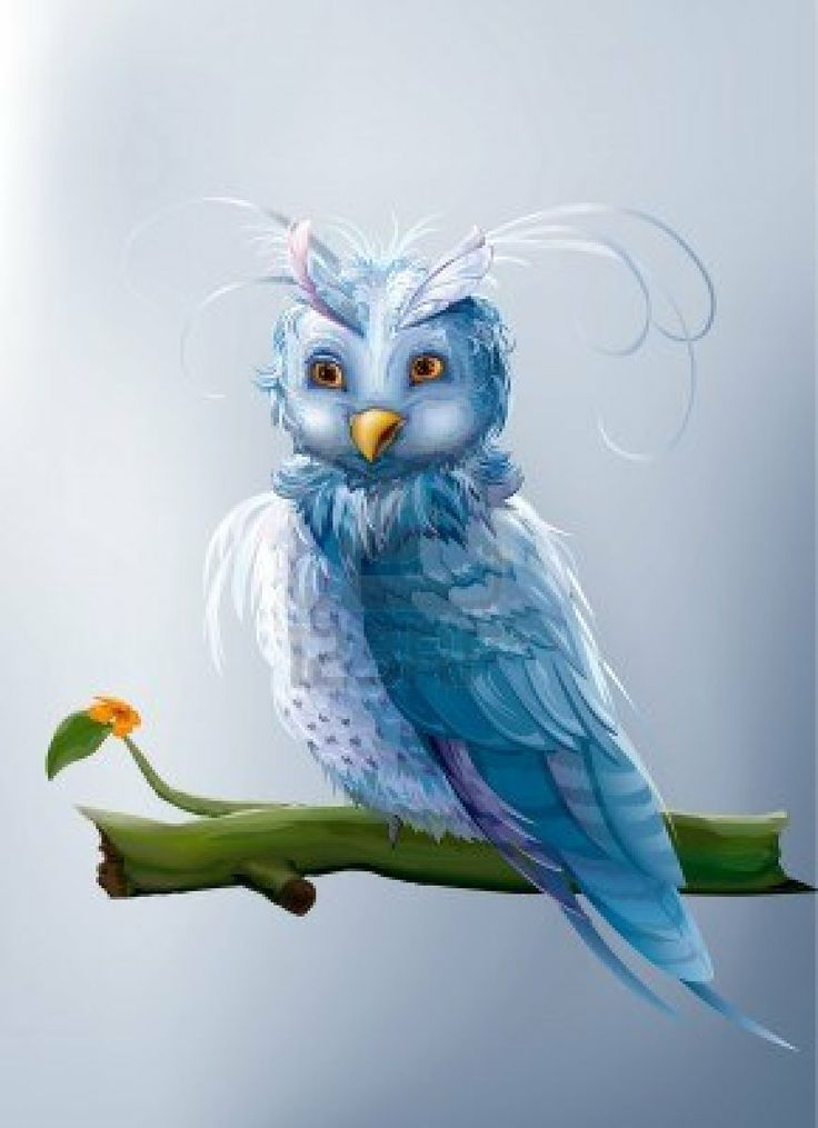 blue fairy cartoon owl sitting on a branch Stock Photo