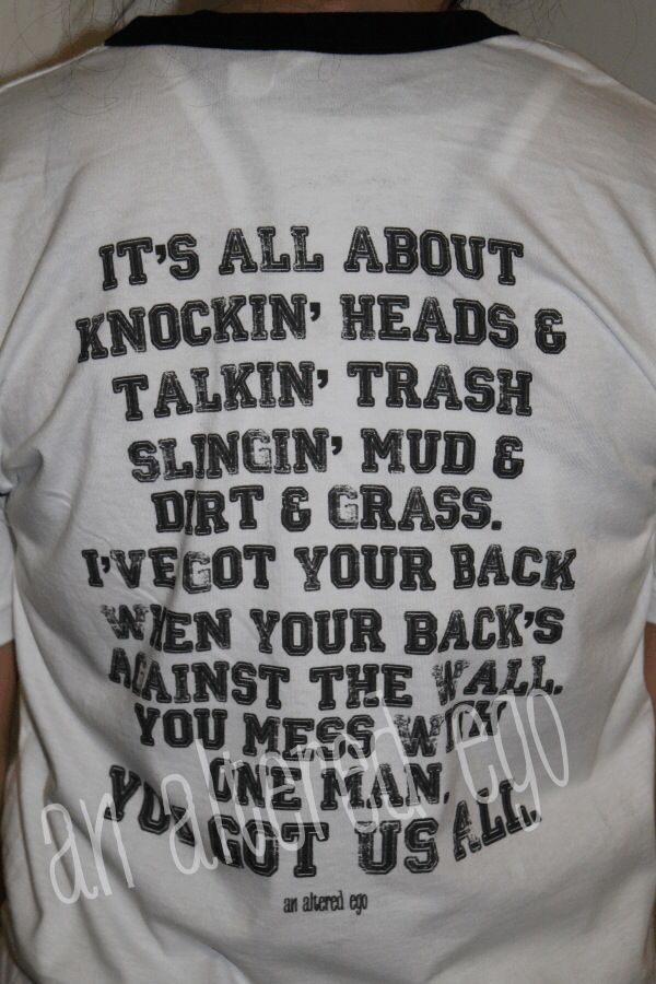 amazing quote for the back of a football shirt