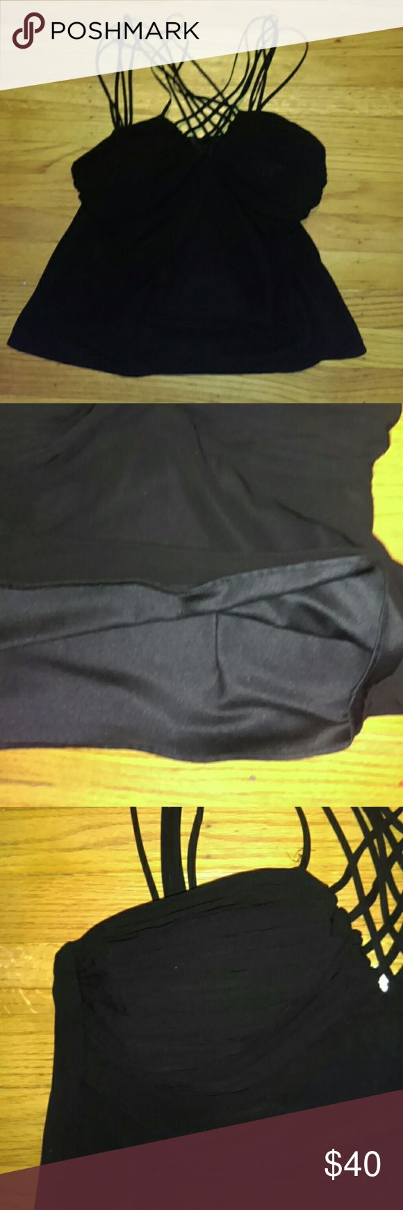 Black Strappy Top Lined nice ...petite s.l. fashions Tops