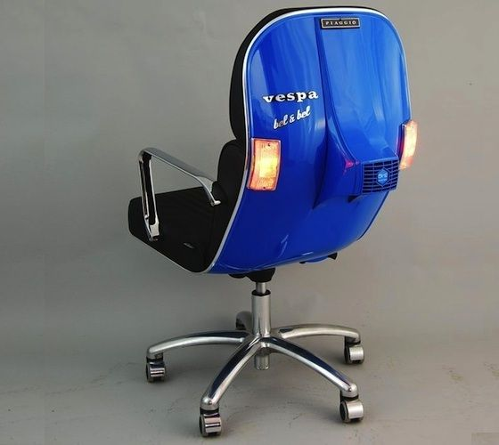 Old Vespa's don't die they turn into stylish chairs. Scooter Vespa's, which do not function any more get a really new life as a smart office swivel chair!