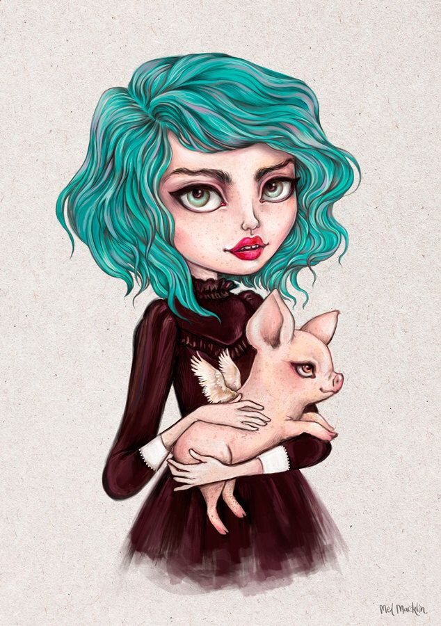 Clover - A4 Limited Edition Fine Art Print - Inspired by Strawberry Shortcake, Rockabilly, Steampunk, Pastel Hair and Piglets by melmacklin on Etsy https://www.etsy.com/listing/245627098/clover-a4-limited-edition-fine-art-print