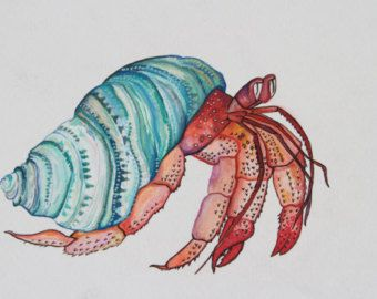 water color of a colorful hermit crab