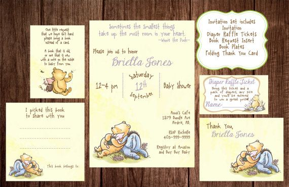 Printable Winnie the Pooh Baby Shower, story book baby shower invitation, Classic Winnie the Pooh Birthday