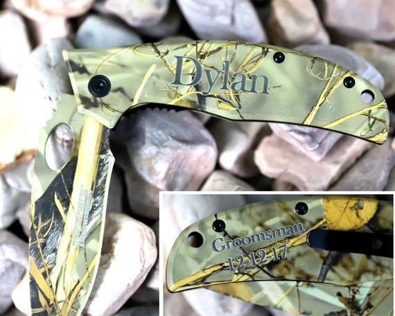 Personalized Hunting Knife, Groomsmen Gift, Camo knife, Groomsmen Proposal, Engraved pocket knife, f – Products