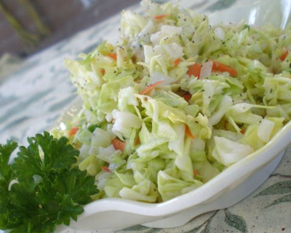 KFC Copycat Coleslaw recipe.  Tastes great... but Stephanie and I think we would use a little less sugar.