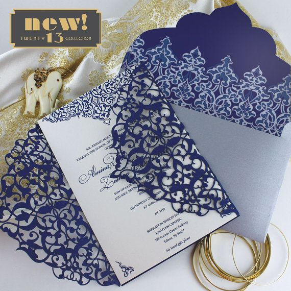 """Inspired by the Roaring '20's, """"Maharajah"""" is part of KatBlu's amazing new """"Twenty 13 Collection."""" This collection features amazing laser cut designs that are configured in four different price points, so you can have elegance no matter your budget! #lasercut #wedding #invitations"""