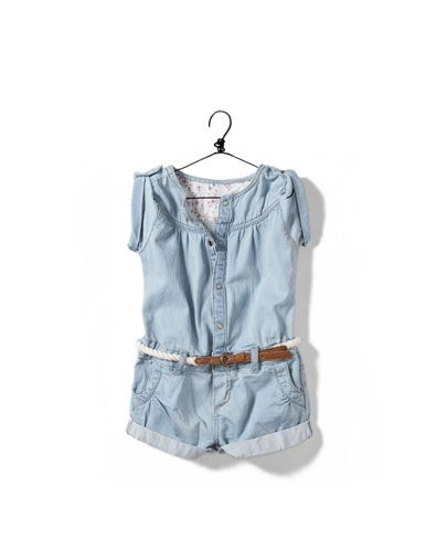 denim jumpsuit with belt - Skirts and shorts - Baby girl (3-36 months) - Kids - ZARA