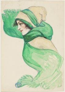 Lady with green scarf, nd, watercolour drawing made by May Gibbs during her student years in London. From the collections of the Mitchell Library, State Library of New South Wales www.sl.nsw.gov.au...