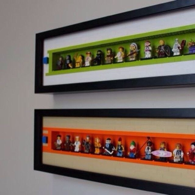 cool idea for room decor mini lego figurines in a shadow box or any size depending on the shadow box love this for the boys room