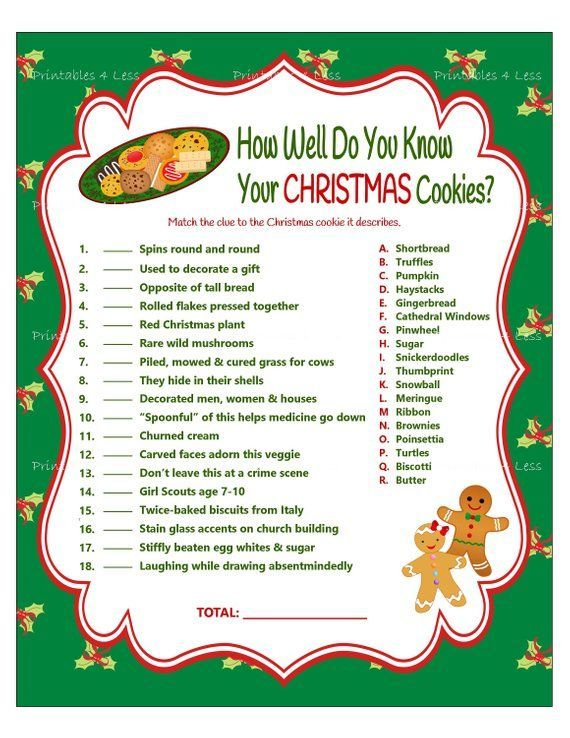 Christmas Game How Well Do You Know Your Christmas Cookies Diy Instant Download 8 X 10 This Chris Xmas Games Printable Christmas Games Holiday Party Games