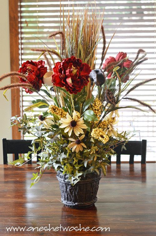 Diy Silk Flower Arrangement Centerpiece Saved Me 100 Bucks For The Home Pinterest Arrangements And