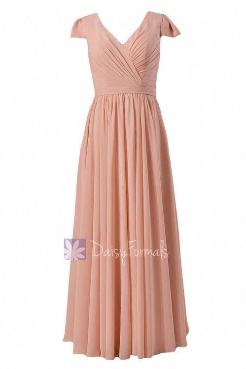 Long Modest Chiffon Bridesmaid Dress Ice Apricot Party Dress W/Cap Sleeves (BM5192L)