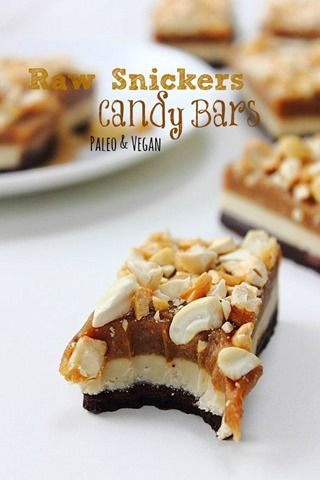 Paleo Raw Snickers Layer Bars | by Michelle Hunt | Base: •¼c (55g) coconut oil melted•1/3c (40g) raw cacao powder•2T (30ml) honey or maple syrup•1T maca powder 21g (1.5 T) raw cacao butter |  Nougat: •½c (120g) smooth cashew butter•¼c (60g) coconut butter•2T (30ml) honey or maple syrup•½tsp vanilla extract |  Caramel: •¾c (130g) pitted dates•¼c (60g) smooth roasted cashew butter•2T (28g) coconut oil•1-2T lukewarm water•Pinch Himilayan Salt |  Topping: •¼c (30g) roasted salted or unsalted…