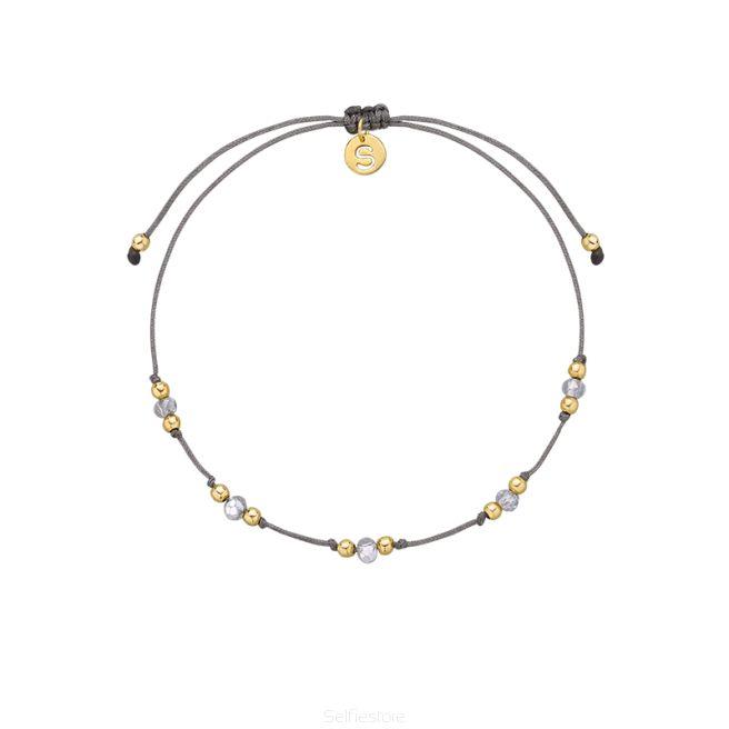 Bransoletka / knot2 / GF / kryształy / szary jedwabny sznurek - Selfie Jewellery - Sklep Internetowy