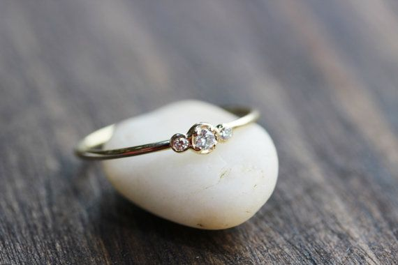 Three Brilliant Diamonds In 14k Gold,Diamond Thin Band Ring,14k Yellow Solid Gold Diamond Ring, 3stones Diamond Engagement Ring