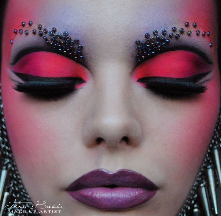 Tena Bašić Makeup Artist | Fantasy and Avant garde Makeup #mua #beauty  -cool use of seed beads...wonder if they are held on with eyelash adhesive?