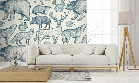 Navy Blue Animals In Forest Wallpaper Self Adhesive Etsy