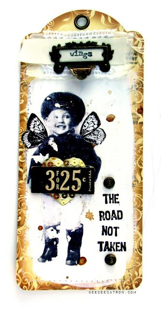by DeeDee Catron: Wings Tag - May Arts Ribbon, Graphic45, Viva Las Vegastamps!, Liquitex and an image transfer